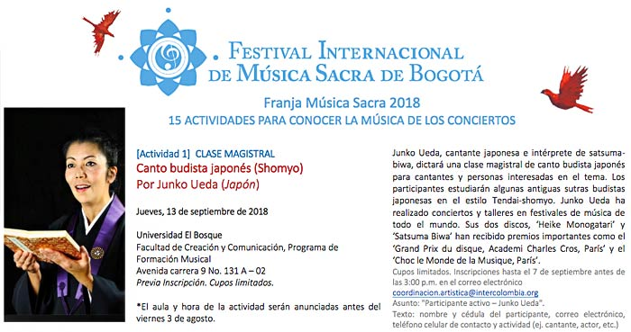 Shomyo Workshop in Bogota, Colombia 2018