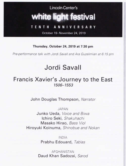 Jordi Savall program note at Lincoln Centre, New York City